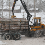 lintidega forvarder FR48 veab talvel puitu välja