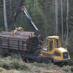 vedaja FR48 veab puitu langilt tee äärde